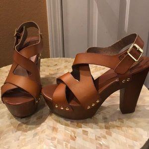 Mossimo Brown Pleather Platform Heels